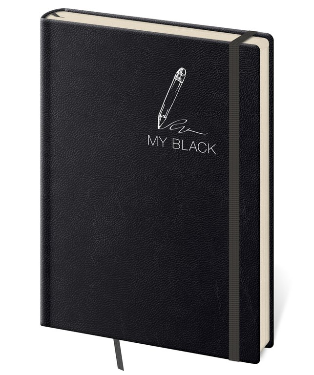 Vario - Notizbuch My Black L liniert