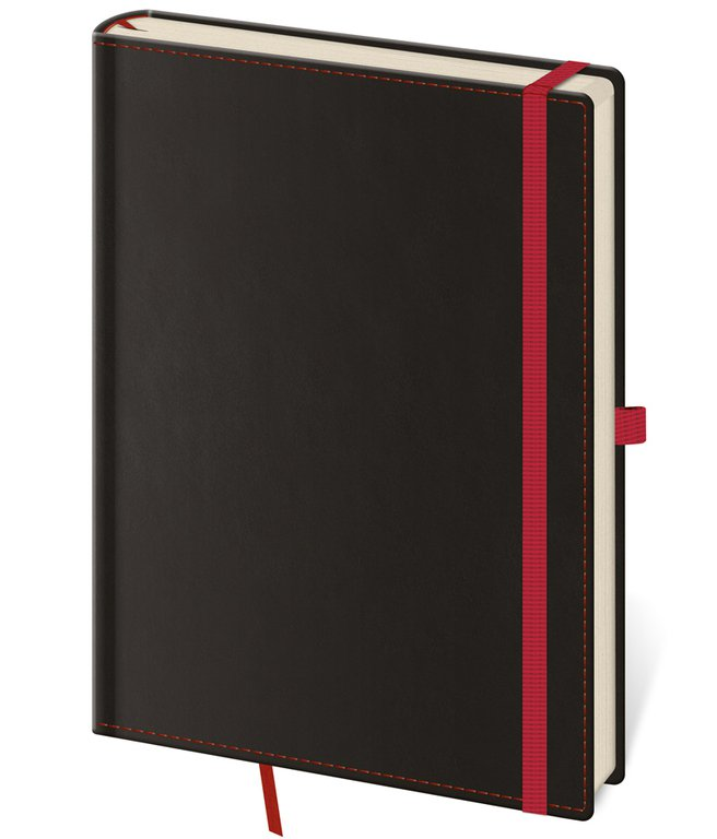 Vario - Notizbuch Black Red L blanko